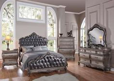 Chantelle 20537EK4PCSET Bedroom Set with Eastern King Size Bed + Dresser + Mirror + Nightstand in Antique Platinum and Silver Grey Finish