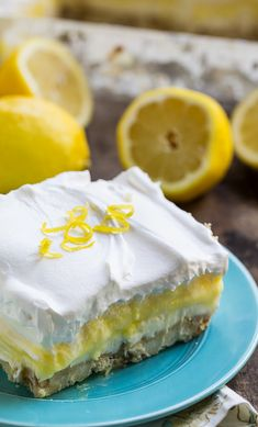 Lemon Lush - 4 delicious layers. This cool and creamy dessert is perfect for summer entertaining!
