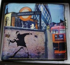 Banksy Graffiti Design Leather Wallet by Pure