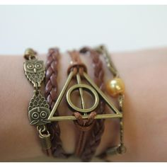 FallFor Bronze Hallows Bracelet ($13) ❤ liked on Polyvore featuring jewelry, bracelets, harry potter, accessories, bronze jewelry and bronze bangle