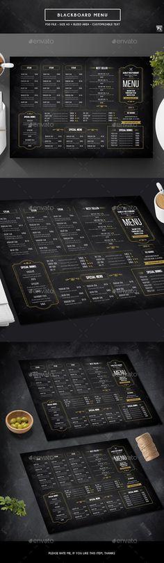Blackboard Menu - Food Menus Print Templates Download here : https://graphicriver.net/item/blackboard-menu/19243486?s_rank=224&ref=Al-fatih #food menu #food menus template #flyer food #design #promotion #template #print templates #restaurant  #bifold #trifold #premium design