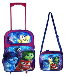 Disney Inside Out 'Joy, Anger, Sadness, and Digust' Rolling Luggage Back to School Backpack with Lunch Bag -- Want additional info? Click on the image.
