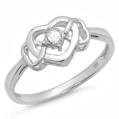 Round White Diamond Ladies Solitaire Promise Three Heart Ring | CoolPresents