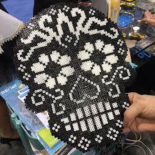 sugar skull perler heart pattern