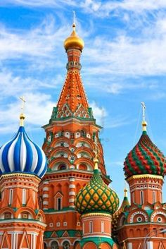 ONION DOMES. St. Basil's Cathedral in Moscow's Red Square has nine chapels, each with a unique & colorful onion dome. Russia.