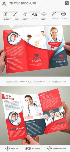 Hospital Tri-Fold Brochure Template Vol2 Tri fold brochure - hospital flyer template