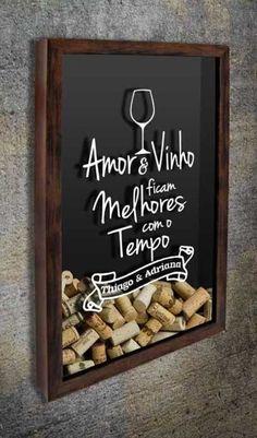 Quadro para Rolhas para Personalizar - Amor & Vinho...