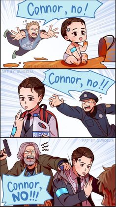 Connor, no! / Detroit: Become Human Really Funny Memes, Stupid Funny Memes, Funny Relatable Memes, Meme Comics, Morbider Humor, Detroit Become Human Connor, Becoming Human, Poses References, Gaming Memes