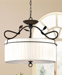 @Overstock - A meandering branch in an antique bronze finish tops this elegant pendant chandelier. This 3-light iron fixture is finished with a striated beige fabric shade. http://www.overstock.com/Home-Garden/Iron-Branch-3-light-Antique-Bronze-Pendant-Chandelier/6003184/product.html?CID=214117 $103.99