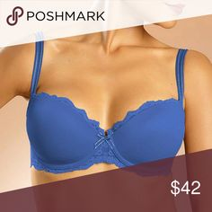 NWT Chantelle 3086 Rive Gauche Sailor Blue Bra 36D NWT 36D  Trimmed with lavish lace for a luxe look, this balconette t-shirt bra is lovely to look at but invisible under your t-shirt! Lace detail provides femininity with perfect amount of coverage. Contour, underwire cups shape and support the breasts with all-over, smooth light foam padding for modesty. Seamless cup overlay lies flat under clothing. Arched center panel for high tummy comfort. Trimmed with bow. Scalloped lace adorns the top…