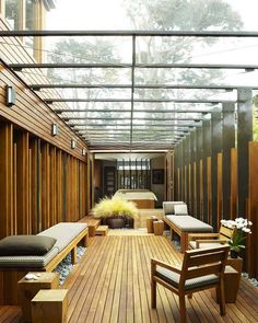 covered exterior chillax space. carmel residence by dirk denison architects
