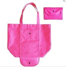 de color rosa 190t plegable de poliéster bolsa de compras para whosales