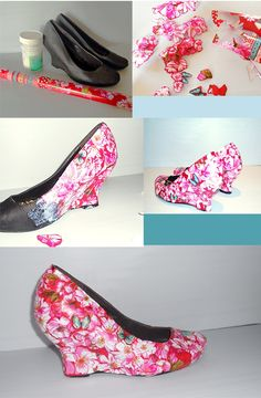 Shoe redo! Heres how:   1.Supplies: pair of shoes, modge podge, wrapping paper with flowers on   2.cut the flowers out in different shapes and sizes   3.Start with the bigger parts, and modge podge the flowers onto the shoe   4.When the modge podge has dried, paint another layer over for durability