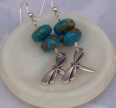 Howlite Earrings with Dragonfly Sterling Silver by evecollection