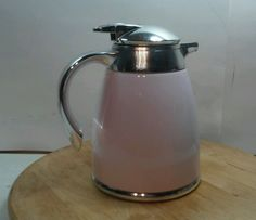 VINTAGE PINK METAL THERMO SERVING INSULATED COFFEE POT CARAFE TEA WARMER CHROME