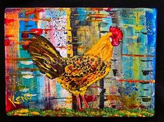Golden Campine Rooster Chicken Maine Abstract Folk Art Outsider Coastwalker