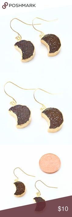 """Gold-plated genuine druzy crescent moon earrings Sparkling celestial beauties!  Amber-colored genuine agate druzy crystals shimmer like stars in the night sky!  Nickel and lead free.  PRICE IS FIRM and extremely reasonable, but click """"add to bundle"""" to save 10% on your purchase of 2+ items today! Jewelry Earrings"""