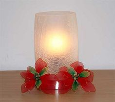 Nylon stocking flower with candle light by New Sheer, via Flickr