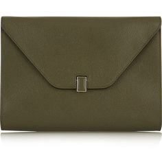 Valextra Textured-leather clutch ($1,440) ❤ liked on Polyvore featuring bags, handbags, clutches, green, brown handbags, tablet purse, brown purse, shoulder strap purses and valextra handbags