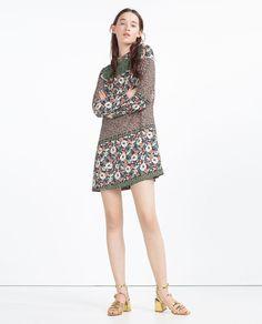 FLORAL DRESS, floral block print, long sleeve, mock neck, $49.90   Zara
