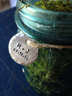 Wedding, Charms, Tags, Wedding decoration or favor, wedding date, couples initials, hand stamped tag by ancypants on Etsy