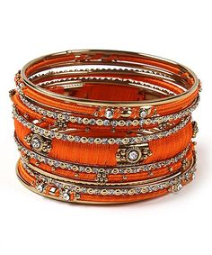 Austrian Crystal & Orange Ankara Bangle Set