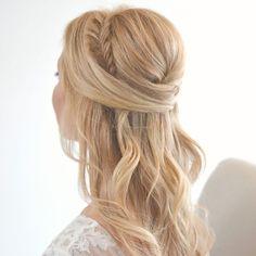 half up half down braided hairstyle ~  we u2764 this! moncheribridals.com