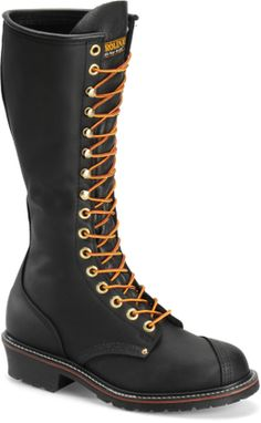 Carolina 16 EH LINESMAN BOOT BLACK Size Work all day or night in the security of the Carolina Domestic Linesman boot. using sturdy, welted construction, this men's tall-shaft work boot has a full grain leather upper. Sock Shoes, Kid Shoes, Mens High Boots, Goth Boots, Men's Boots, Snake Boots, Leather Men, Leather Boots, Chelsea