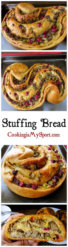 Stuffing Bread just in time for the holidays! Filled with sage, breakfast sausage and cranberries #holidays #bread