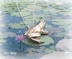 Frog Necklace Sterling Silver Frog Pendant  by AdienandIrisBlue