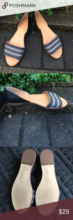 J. Crew Sandals Black and white graphic print fabric. Black leather backs. Never worn. Size 6 1/2. Shoes Sandals