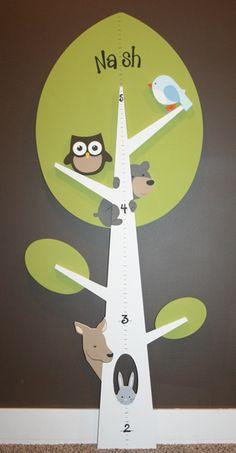 Woodland Tree Shaped Growth Chart-tree growth chart, shaped growth chart, green, white, owls, birds, bear, deer, rabbit, measuring stick, he...
