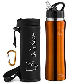 Swig Savvy Stainless Steel Insulated Leak Proof Flip Top Straw Cap Water Bottles with Pouch & Clip, Orange, 24oz - DOUBLE WALL STAINLESS STEEL WATER BOTTLE: INSULATED DOUBLE WALLS FOR SUPER CHILLED DRINKS! Do you love ultra cool drinks while exercising or working out, but find most thin water bottles don't easily keep drinks cool? Rather than cheaper sports bottles that easily leak, would you like a leak resi...