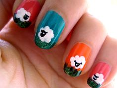 Baaaah. Sheep nail art.