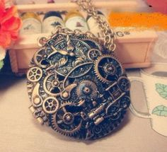 Steampunk-Vintage-Medaillon-Halskette-Necklace-Gold-Locket-Zahnraeder-Gears-WGT