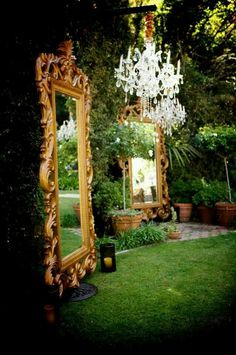 Enchanted forests and secret garden themes are wonderful to celebrate in. Adding mirrors to an outdoor garden will step your party up a notch. The super large mirrors is very dramatic for a cocktail hour, dinner party or reception. Click for more secret garden inspiration.