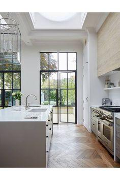 A modern scheme for a Victorian House Doors, herringbone floor Modern Victorian House Oxford Modern Kitchen Interiors, Home Decor Kitchen, Kitchen Modern, Kitchen Industrial, Kitchen Lamps, Design Kitchen, Kitchen Lighting, Spanish Kitchen, Kitchen Rustic