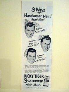 Vintage 1940's LUCKY TIGER 3 Purpose HairTonic Barbershop Litho Sign Ads