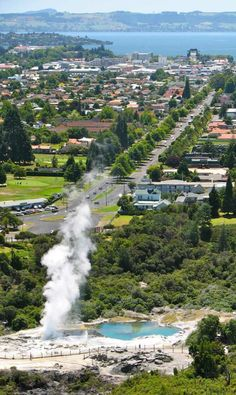 Rotorua, New Zealand - from Southern end thermal activity, to Lake Rotorua.