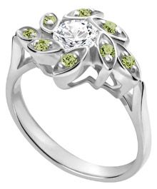 14K+White+Gold+Leaf+Ring+with+Diamond+Center+and+Peridot+Side+Stones