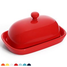 Sweese 3166 Porcelain Cute Butter Dish with Lid, Perfect for East / West Butter, Red