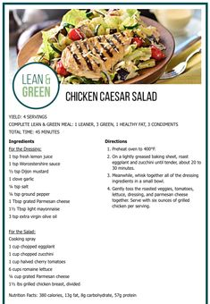 YIELD: 4 SERVINGS COMPLETE LEAN & GREEN MEAL: 1 LEANER, 3 GREEN, 1 HEALTHY FAT, 3 CONDIMENTS TOTAL TIME: 45 MINUTES Nutrition Facts: 380 calories, 13g fat, 8g carbohydrate, 57g protein Medifast Recipes, Ww Recipes, Cooking Recipes, Healthy Recipes, Green Chicken Recipe, Lean Dinners, Green Pizza, Lean Protein Meals, Salads