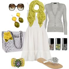 white dress, citron scarf, gray cardigan silver, yellow, and green accessories