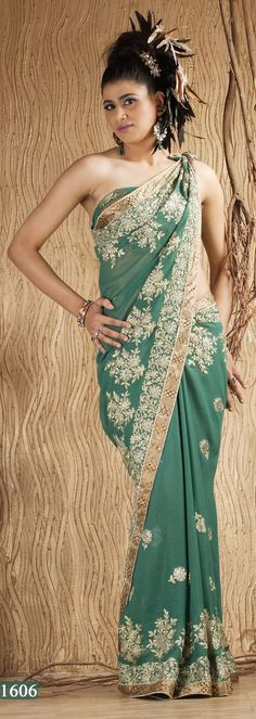Green Copper Georgette Saree