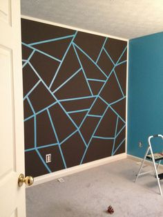 Wall Paint Design Ideas with Tape . New Wall Paint Design Ideas with Tape . Teenage Daughter Room Design Done with Frog Tape Turned Out Great Frog Tape Wall, Bedroom Paint Design, Bedroom Wall Designs, Diy Room Decor, Bedroom Decor, Home Decor, Geometric Wall Paint, Wall Paint Patterns, Painting Patterns