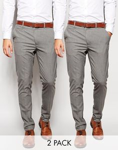 ASOS 2 Pack Basic Trousers In Skinny Fit Mid Grey SAVE 17%