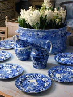 Beautiful blue transferware with white hyacinth