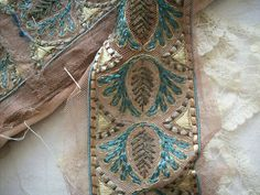1 yd of Art Deco antique trim with metal by TextileArtLace on Etsy, $118.00