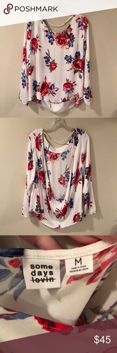 Somedays Lovin Floral Top Size Medium This cute top has only been worn once and is in excellent condition. There is a pretty open back detail to this top. Please let me know if you have any questions. Somedays Lovin Tops
