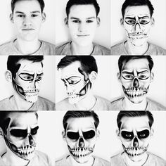 Mens #halloween #skull #makeup by @louisekekoa (inspired by the many many skull tutorials/pics on the internet). Collage created using the #abeautifulmess #ABM #partyparty app